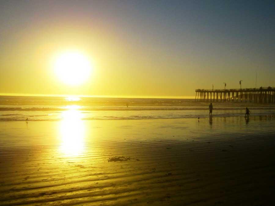 Pismo Beach-zonsondergang-