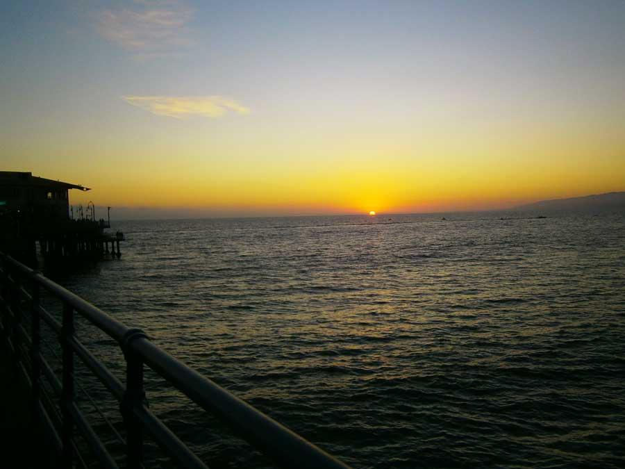 Zonsondergang-Santa-Monica-Amerika